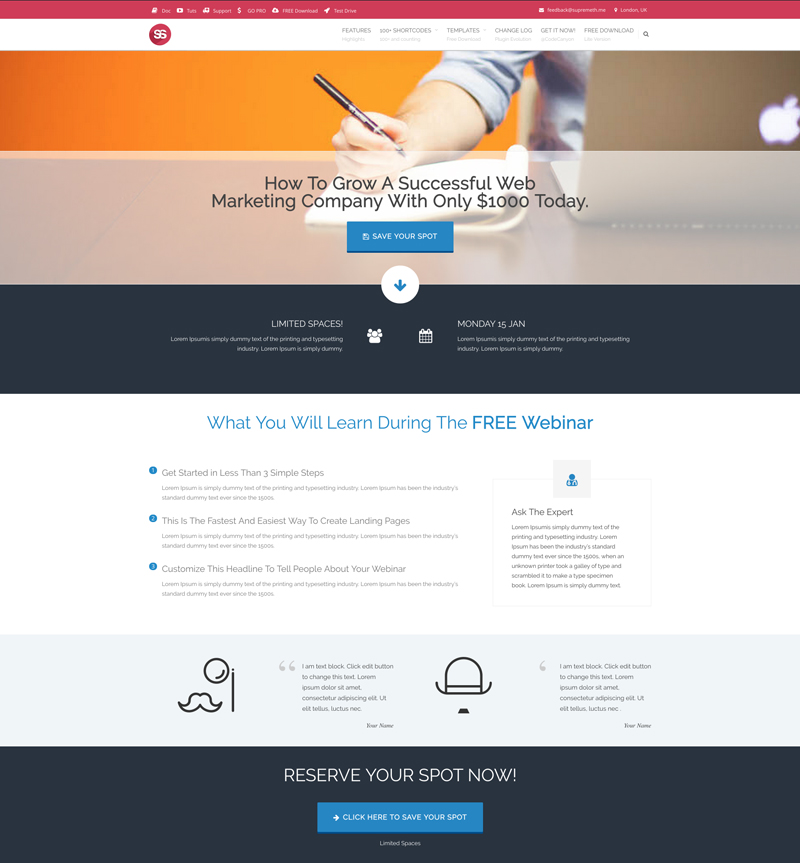 webinar landing page supreme wp theme. Black Bedroom Furniture Sets. Home Design Ideas
